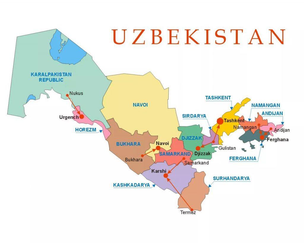uzbekistanas karte